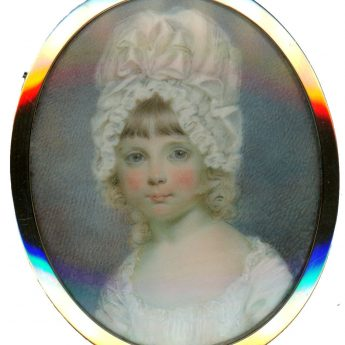 Charming miniature portrait attributed to Henry Jacob Burch of a child wearing a large cap