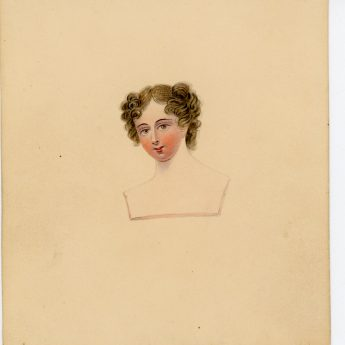 Watercolour portraits of a lady with 8 costume overlays, early 19th century