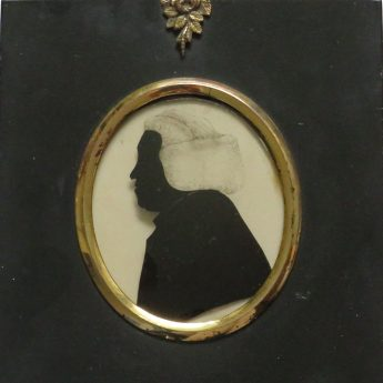 Silhouette of a gentleman reverse painted on glass by William Hamlet the Elder