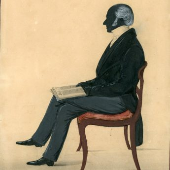 Painted silhouette of a gentleman, dated 1845