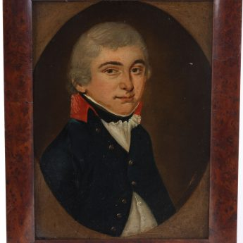 Naive School portrait of John Spencer, midshipman, oil on tin