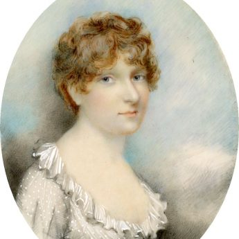 Miniature portrait of Mrs Gedge in a spotted muslin dress