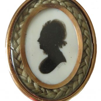 Small silhouette of a lady painted on ivory by John Miers