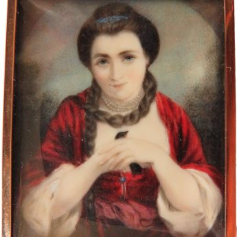 Miniature portrait of Lady Elizabeth Fortescue holding a bird; painted by Joseph Osmond Barnard