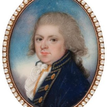 Georgian portrait miniature of a gentleman; gold frame engraved reverse