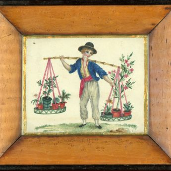 Quirky 19th century watercolour of a boy selling potted plants