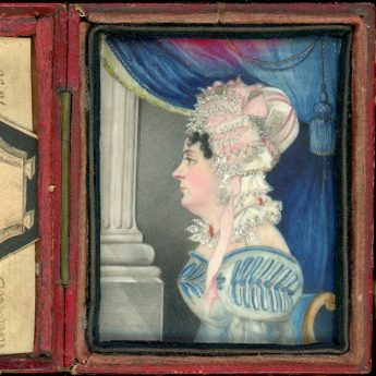 Miniature profile portrait of Ann Haines in the original travelling case and accompanied by her marriage certificate