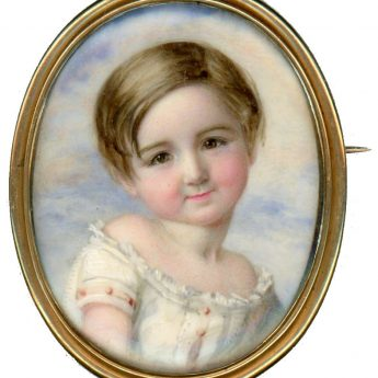 miniature portrait of a little boy painted by Annie Dixon with a later photograph of the sitter on the reverse