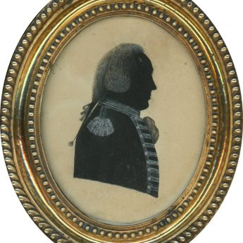 Painted silhouette of an officer in a pigtail wig
