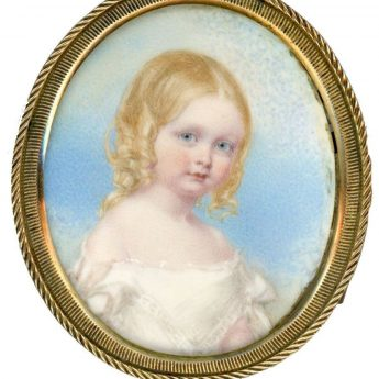 A delightful portrait miniature of Louisa Boulderson painted around 1843