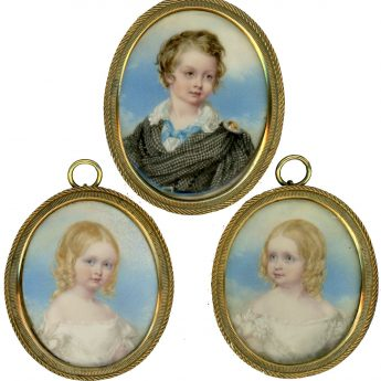 A delightful family group of named portrait miniatures of siblings, painted around 1843