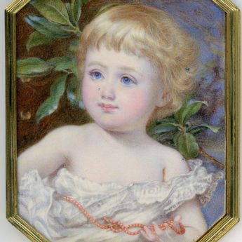 Delightful miniature portrait of Mabel Elizabeth Ponsonby painted by Annie Dixon