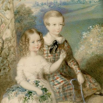 Watercolour portrait of two children in a garden landscape painted by Rochard in 1845