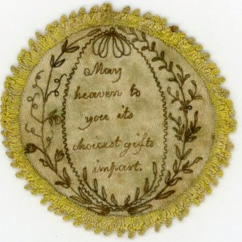 A very personal embroidered love token to be tucked into a pocket watch