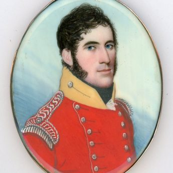 Miniature portrait of an officer by Frederick Buck