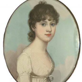 Miniature portrait of a young lady painted by Frederick Buck