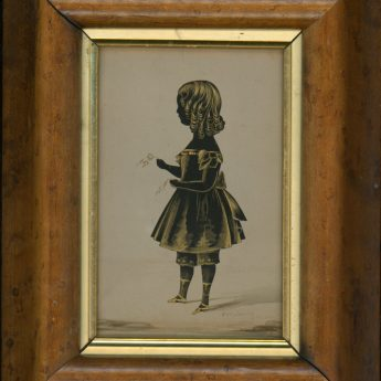 Cut and gilded silhouete of a child by Frederick William Seville, 1841