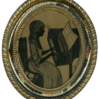 Painted 18th century silhouette of Eliza Ann Mackworth playing the piano