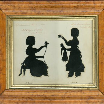 Silhouette of Marianne and Emma Meux cut by Augustin Edouart, dated 1828