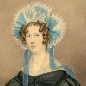 Watercolour portrait of a lady in a wonderful hat painted by Irish artist John Moreau