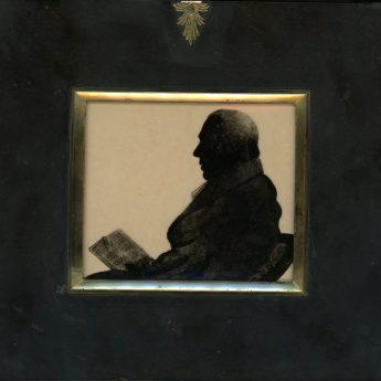 Unusual silhouette reverse painted on convex glass