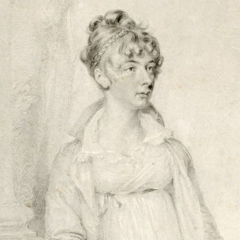 Fine pencil portrait of a Regency lady signed and dated 1805