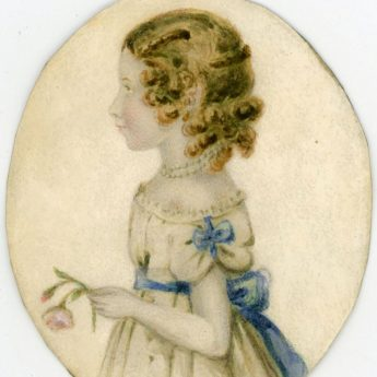 Watercolour profile portrait of a child holding a rose