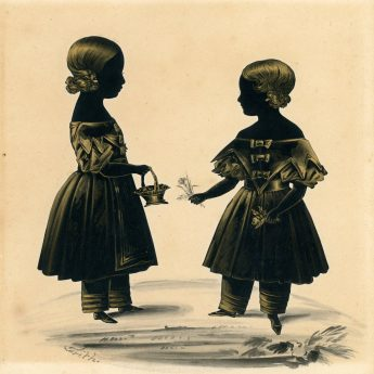 A charming cut and bronzed silhouette of young sisters by Frederick Frith, dated 1839