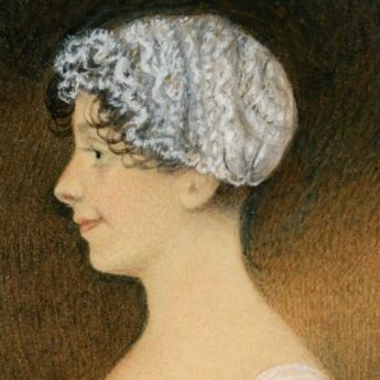 Watercolour profile portrait of a young Regency lady