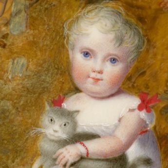 Miniature portrait of a child in a garden holding a grey cat