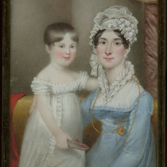 Miniature portrait of a young Regency mother with her young son, circa 1805