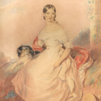 Romantic watercolour portrait of a young lady with her King Charles spaniel