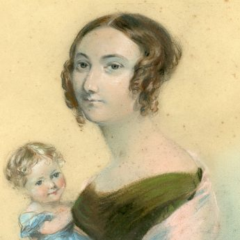 Pastel portrait of a young mother and child