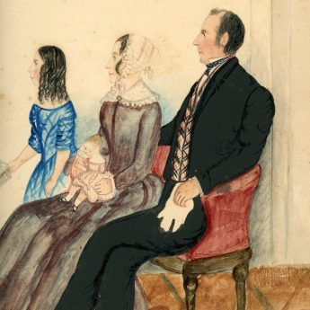 Charming naive watercolour conversation piece of a family in a drawing room
