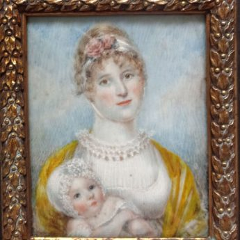Delightful miniature portrait of a young Regency mother with her newborn child