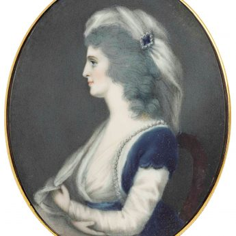 Miniature portrait of Elizabeth, wife of Richard Brinsley Sheridan; attributed to Ozias Humphry
