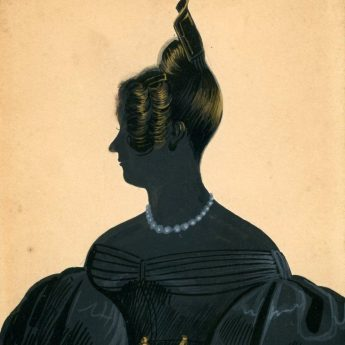Painted silhouette of a lady wearing a beaded necklace