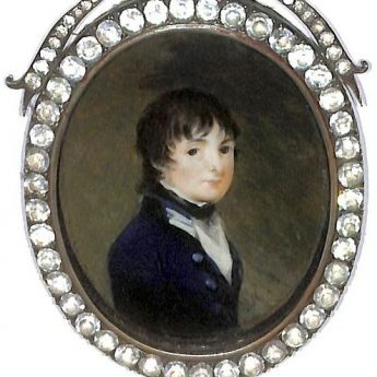 Miniature portrait of a young midshipman, Captain Henry John Peachey painted by Mary Byrne