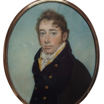 Miniature portrait of a gentleman in a yellow waistcoat by W. S. Lethbridge