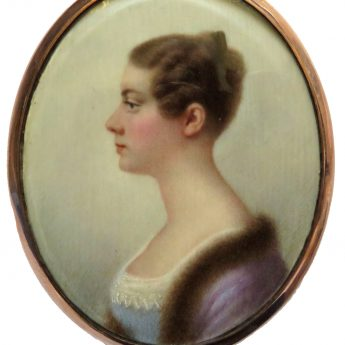 Profile portrait miniature of a young lady in a fur-trimmed purple surcoat