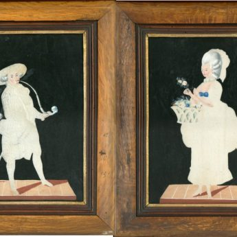 Pin-pricked and watercolour pictures pf theatrical figures on stage