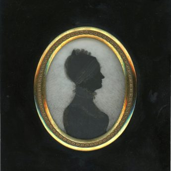 Silhouette of Sarah Hopkins painted on ivory by T. London