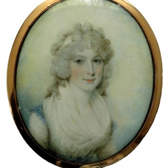 Miniature portrait of a young lady by Samuel Shelley