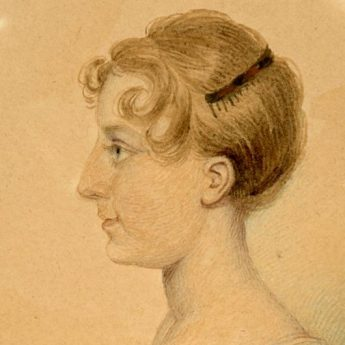 Watercolour profile of a young Regency lady