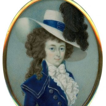 Miniature portrait of a lady wearing a riding habit painted by irish artist Sampson Twogood Roche