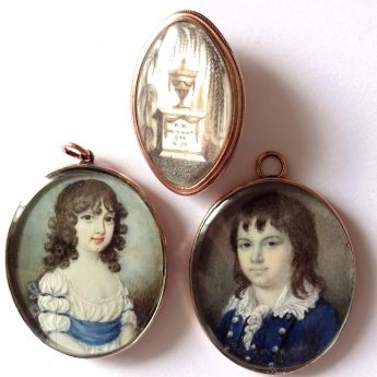Family group of miniatures including a memorial brooch