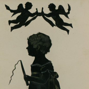 Cut and lightly bronzed silhouette of a child holding a toy whip