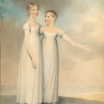 Watercolour portrait of two sisters in a landscape painted by Adam Buck in 1816