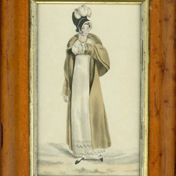 Fashion watercolour of a young Regency lady out walking