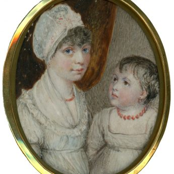A winsome portrait miniature of a young Regency mother with her child